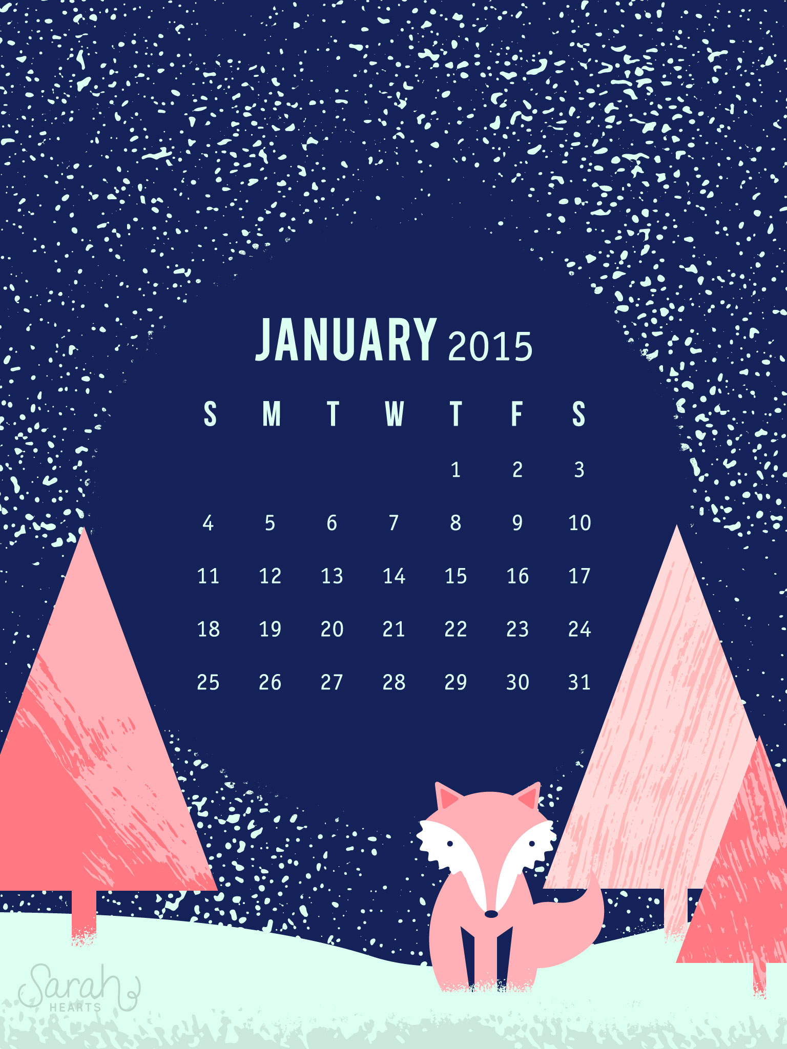Cute January Calendar Wallpaper : Sarah hearts january calendar wallpaper