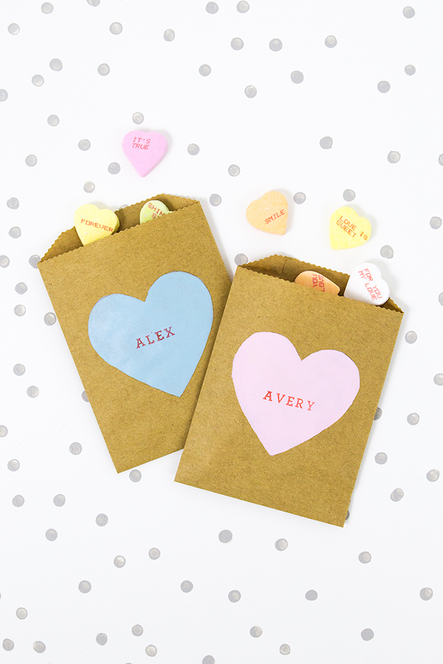 How cute are these DIY conversation heart candy bags? So cute for a ...