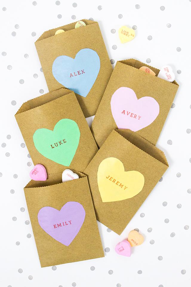 Sarah Hearts - DIY Conversation Heart Treat Bags